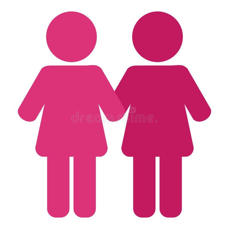在白色隔绝的桃红色女同性恋的平的象 向量例证