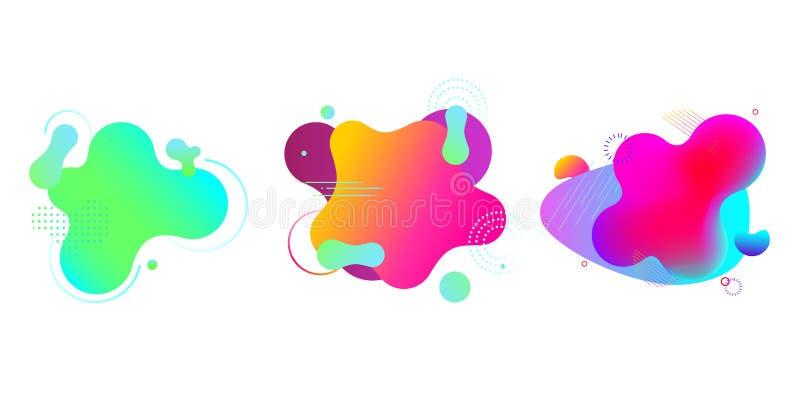 在白色隔绝的梯度可变的形状 五颜六色的斑点,背景 在充满活力的颜色的抽象横幅模板 皇族释放例证