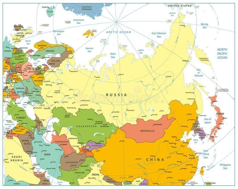 在白色隔绝的欧亚大陆政治地图图片