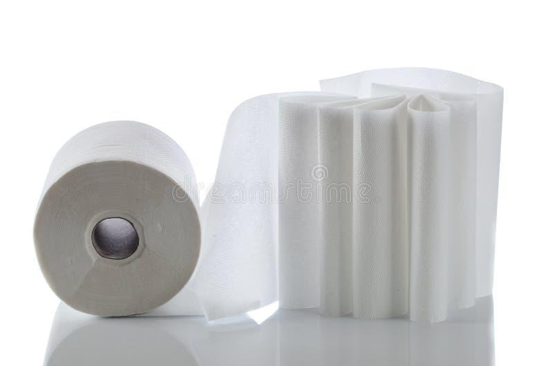 在白色隔绝的毛巾纸 免版税库存照片