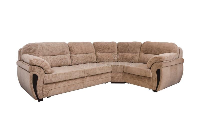 在白色隔绝的浅褐色的沙发与裁减路线 免版税库存图片