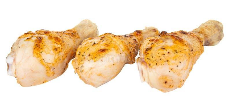 在白色隔绝的烤鸡腿 免版税库存照片