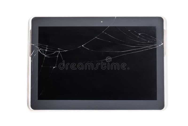在白色隔绝的片剂设备的损坏的残破的屏幕玻璃 免版税图库摄影