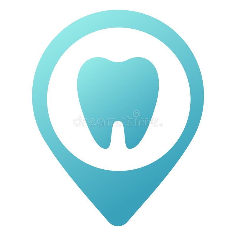 在白色隔绝的牙齿诊所简单的蓝色象 趋向现代略写法或图形设计象征 地址的概念 皇族释放例证