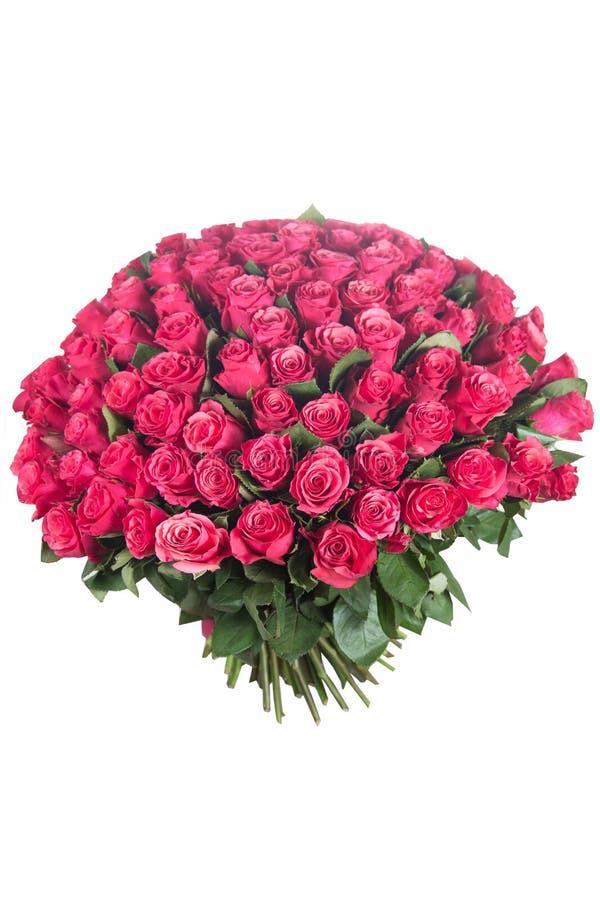 在白色隔绝的玫瑰花束 库存照片