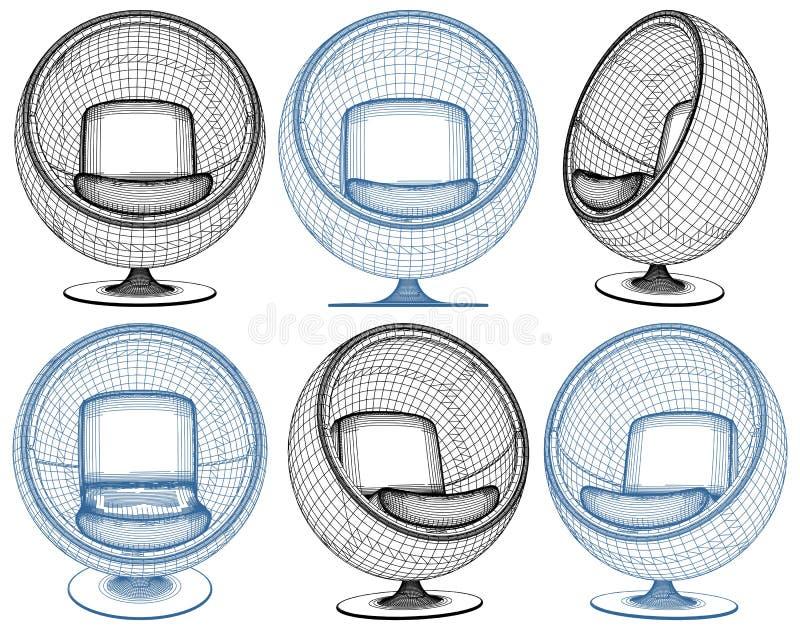 在白色隔绝的现代球形状扶手椅子传染媒介 向量例证