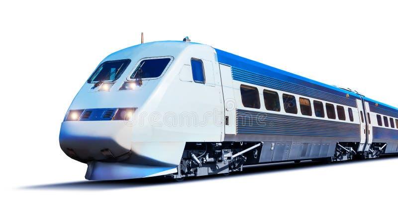 在白色隔绝的现代高速火车图片