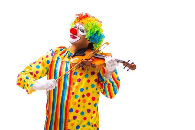 在白色隔绝的男性小丑 免版税库存图片