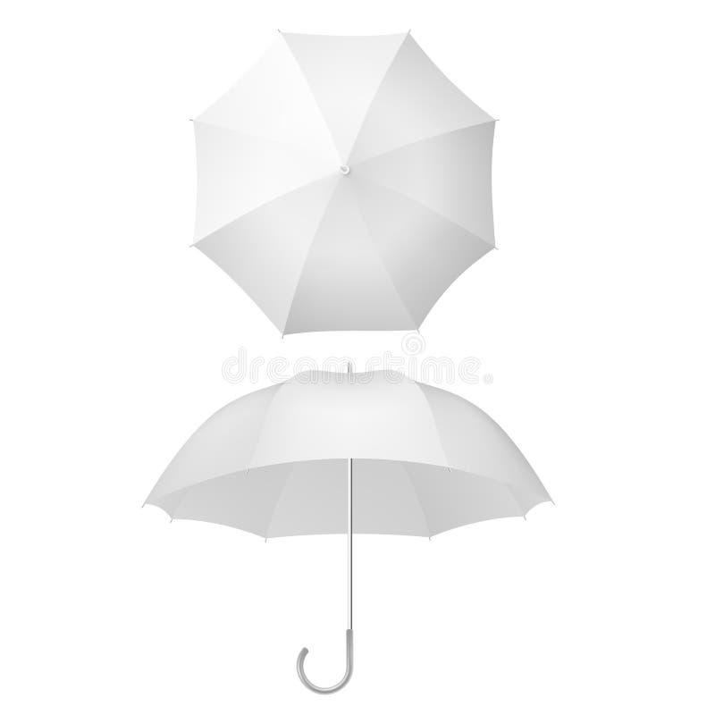 白伞与遮阳伞 开放式仿真遮阳伞设计模板 EPS 10 库存例证
