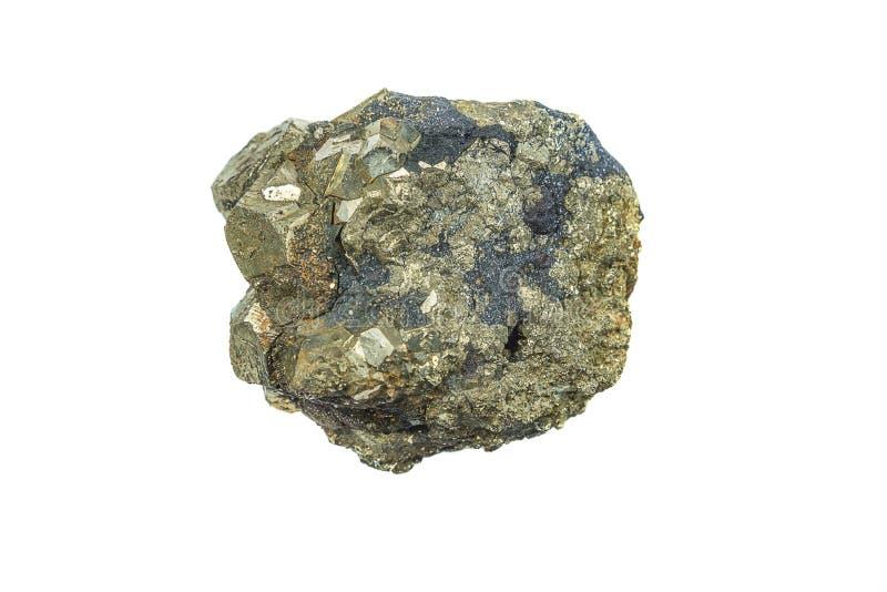 在白色隔绝的硫铁矿矿物 免版税库存图片
