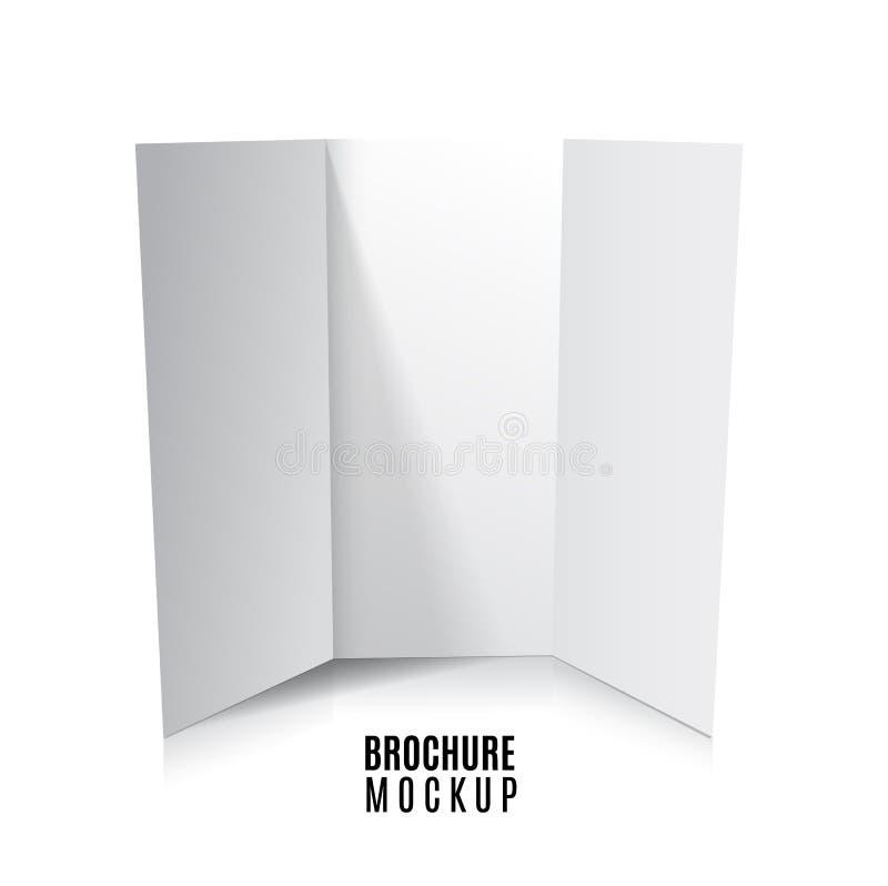 在白色隔绝的空白三部合成的纸小册子大模型 r 向量例证