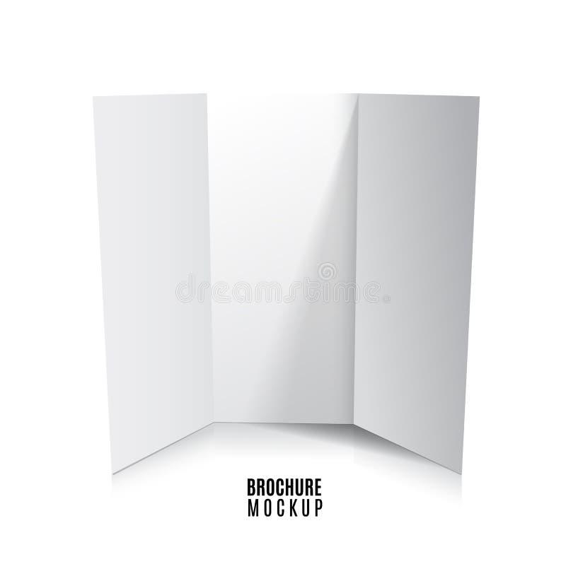 在白色隔绝的空白三部合成的纸小册子大模型 r 皇族释放例证