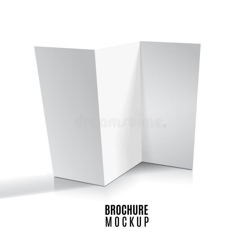 在白色隔绝的空白三部合成的纸小册子大模型 r 库存例证