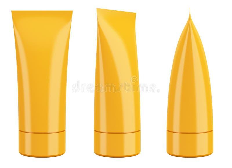 在白色隔绝的空白的橙色奶油色化妆用品或牙膏管 向量例证