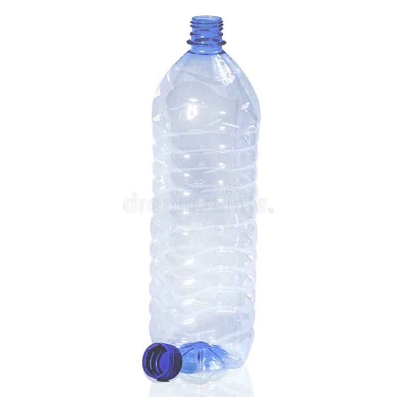 在白色隔绝的空的塑料瓶 库存图片
