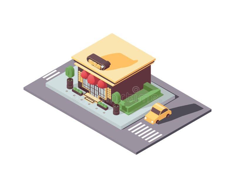 在白色隔绝的等量修造的首饰店 3d例证有益于城市创作 大陈列室、绿叶和汽车与 向量例证