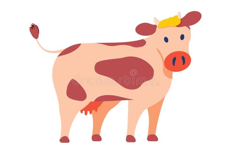 在白色隔绝的简单的样式传染媒介象的母牛象征 大家畜,与斑点的有角的奶牛在皮肤 皇族释放例证
