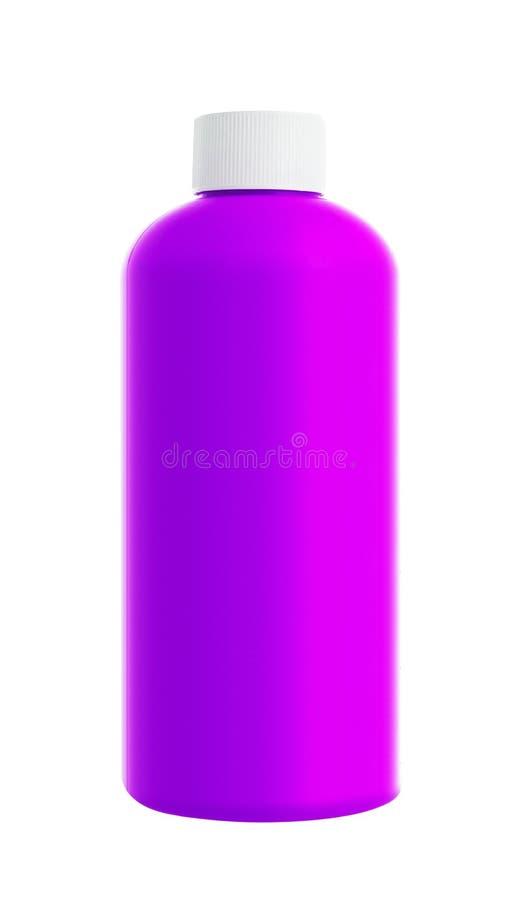 在白色隔绝的紫罗兰色塑料瓶 库存图片