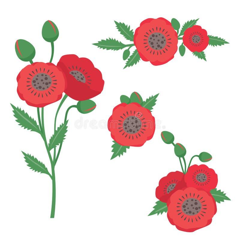 在白色隔绝的红色鸦片花装饰集合 向量例证