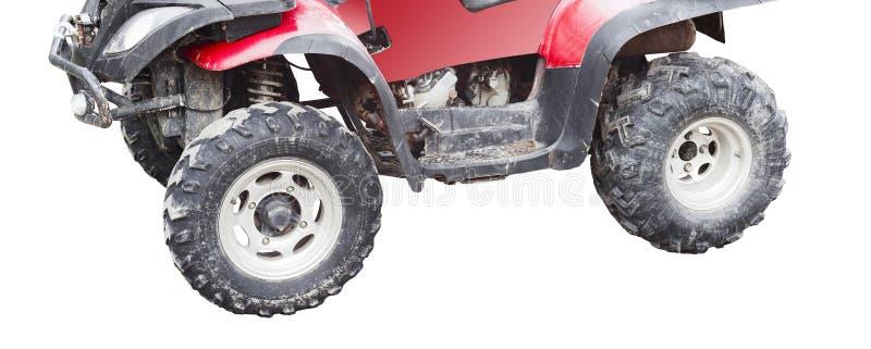 在白色隔绝的红色atv方形字体自行车 免版税图库摄影
