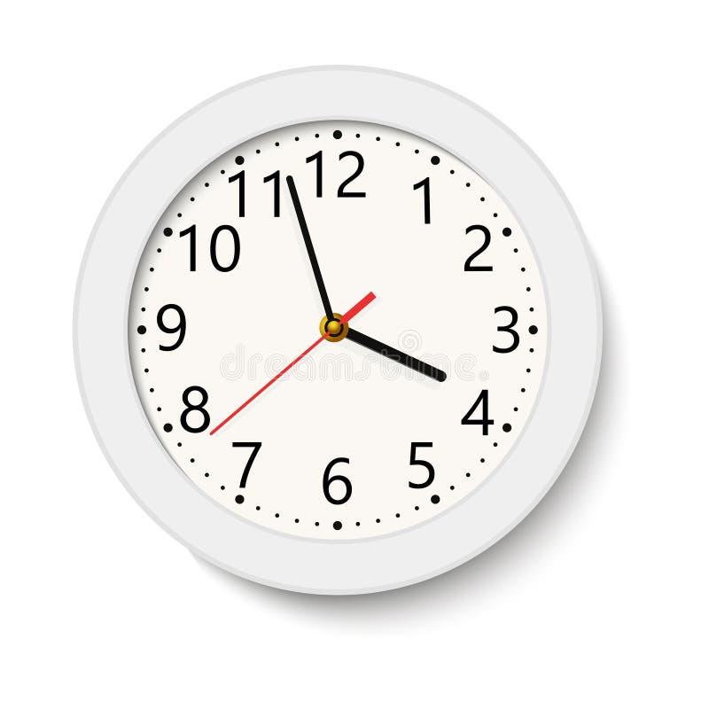 在白色隔绝的经典白色圆的壁钟 也corel凹道例证向量 库存图片