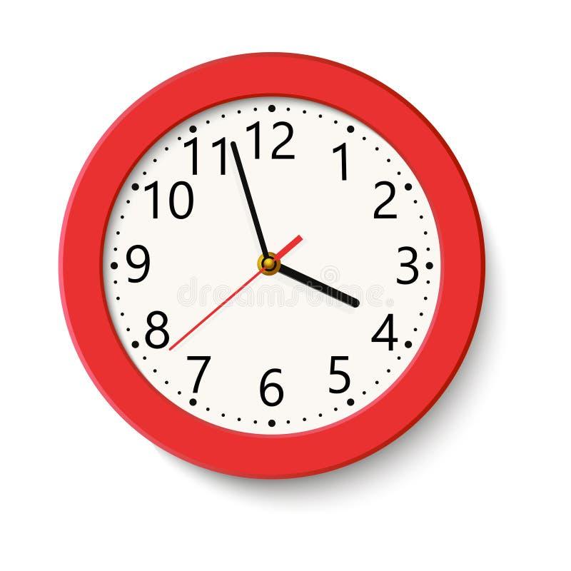 在白色隔绝的经典红色圆的壁钟 也corel凹道例证向量 向量例证
