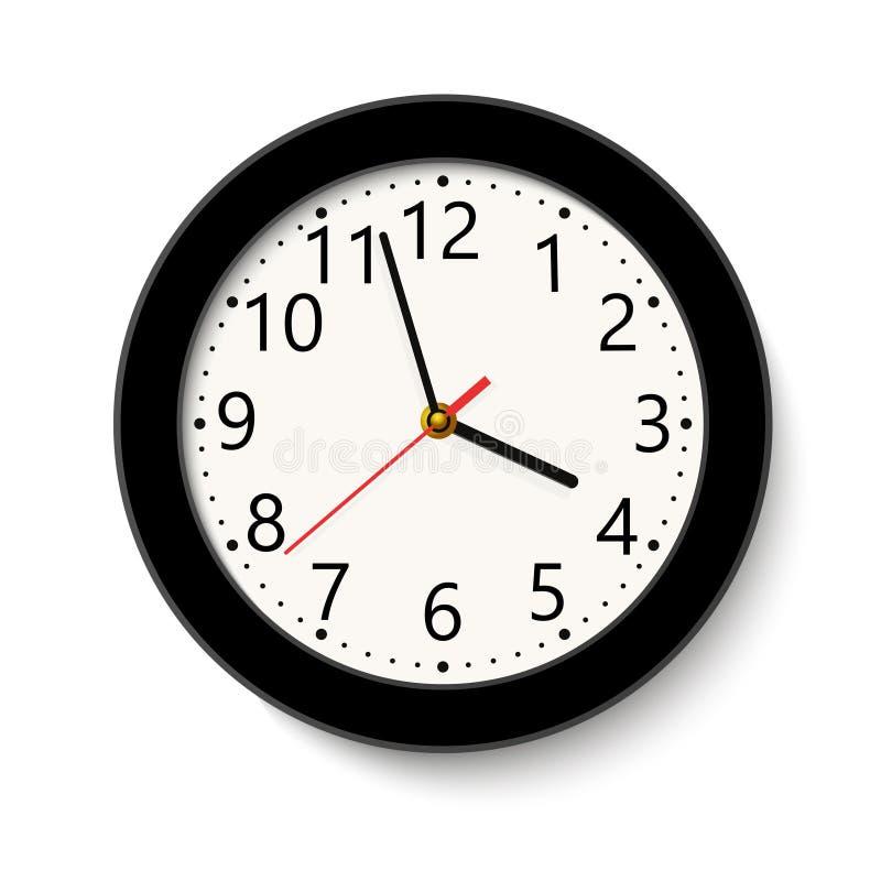 在白色隔绝的经典黑圆的壁钟 也corel凹道例证向量 免版税库存图片