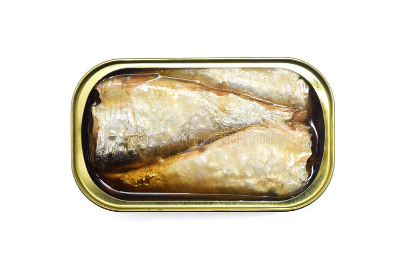 在白色隔绝的罐子沙丁鱼 免版税库存照片