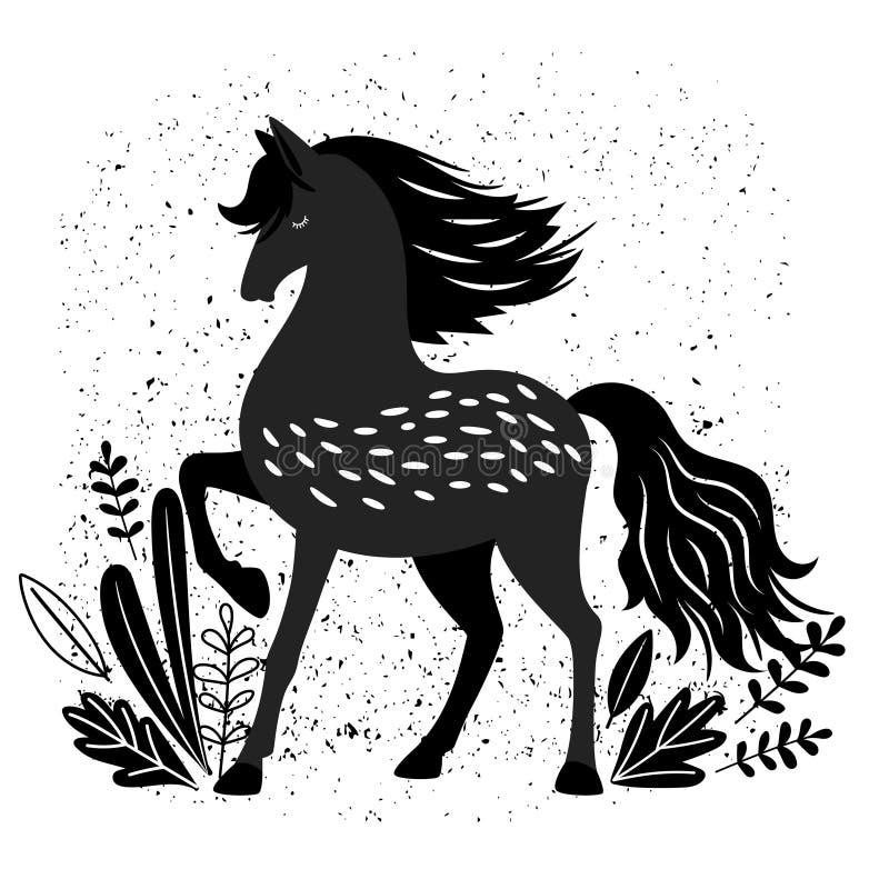 在白色隔绝的美好的黑马传染媒介例证 库存例证
