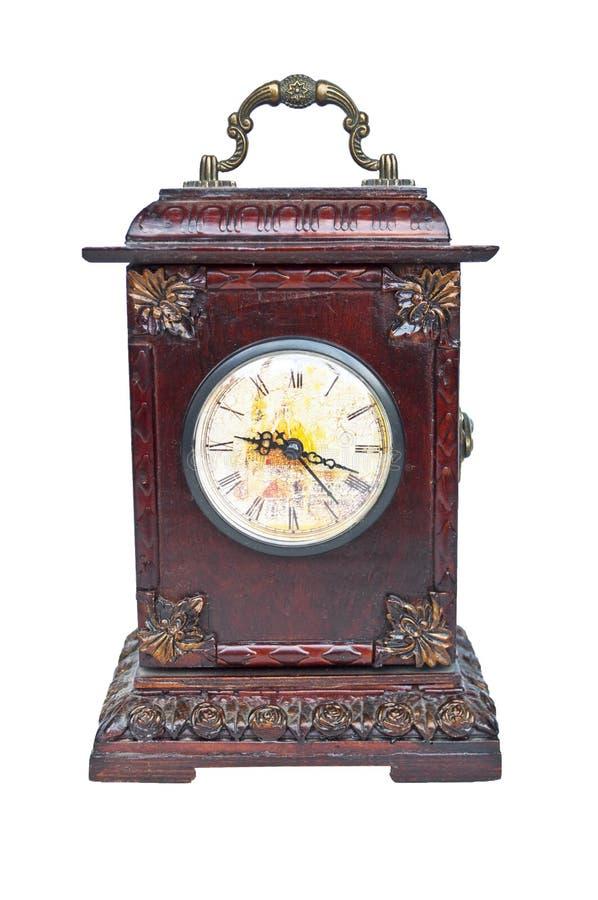 在白色隔绝的老古色古香的时钟 免版税图库摄影