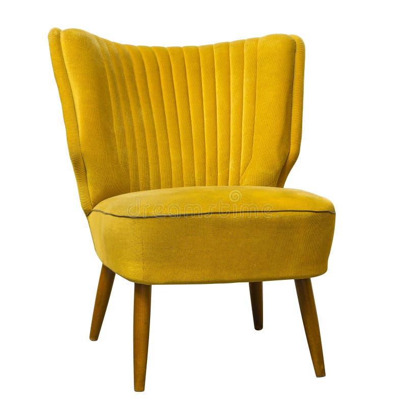 在白色隔绝的老葡萄酒黄色椅子 免版税库存照片