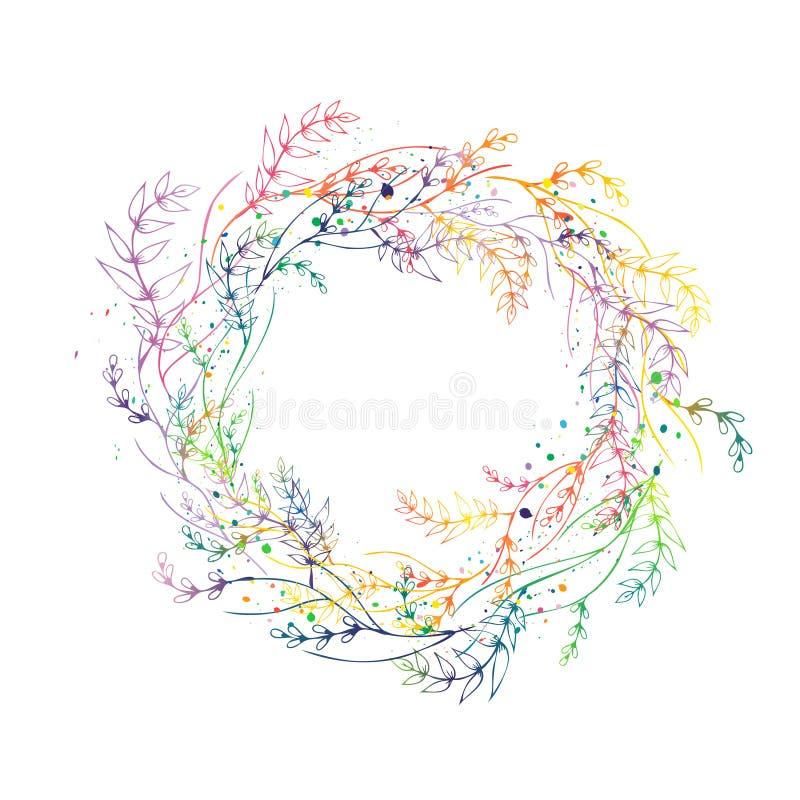 在白色隔绝的花卉花圈 向量例证