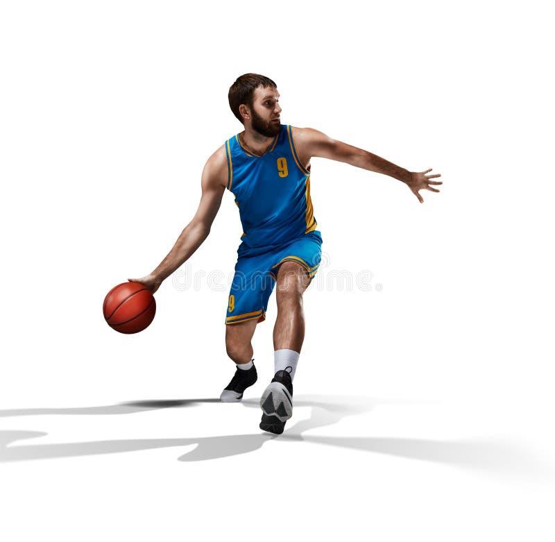 在白色隔绝的蓝球运动员 图库摄影