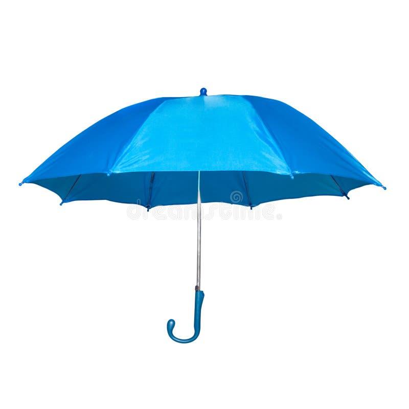 在白色隔绝的蓝色伞 免版税库存照片