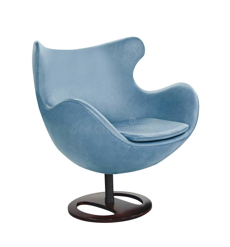 在白色隔绝的蓝色办公室椅子 库存照片