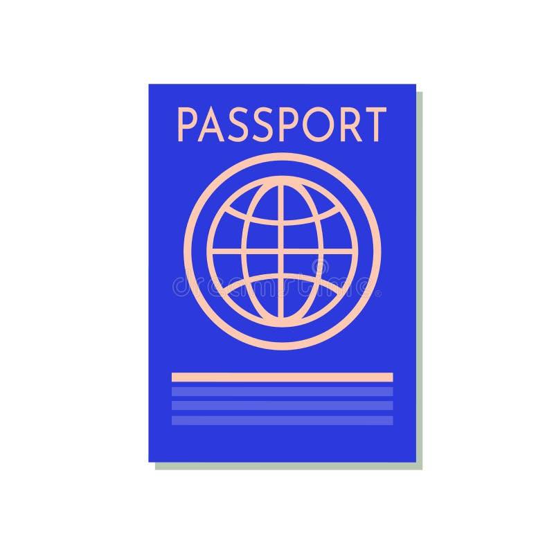 在白色隔绝的蓝色护照 旅行的国际证明文件 关于证明的传染媒介图象 库存例证