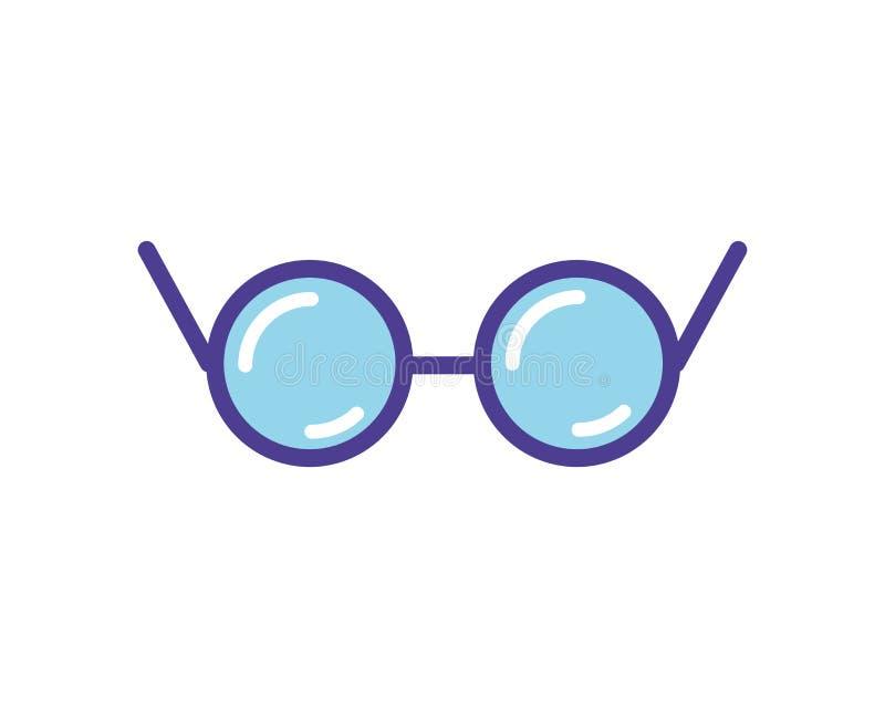 在白色隔绝的蓝色眼镜象传染媒介例证 向量例证