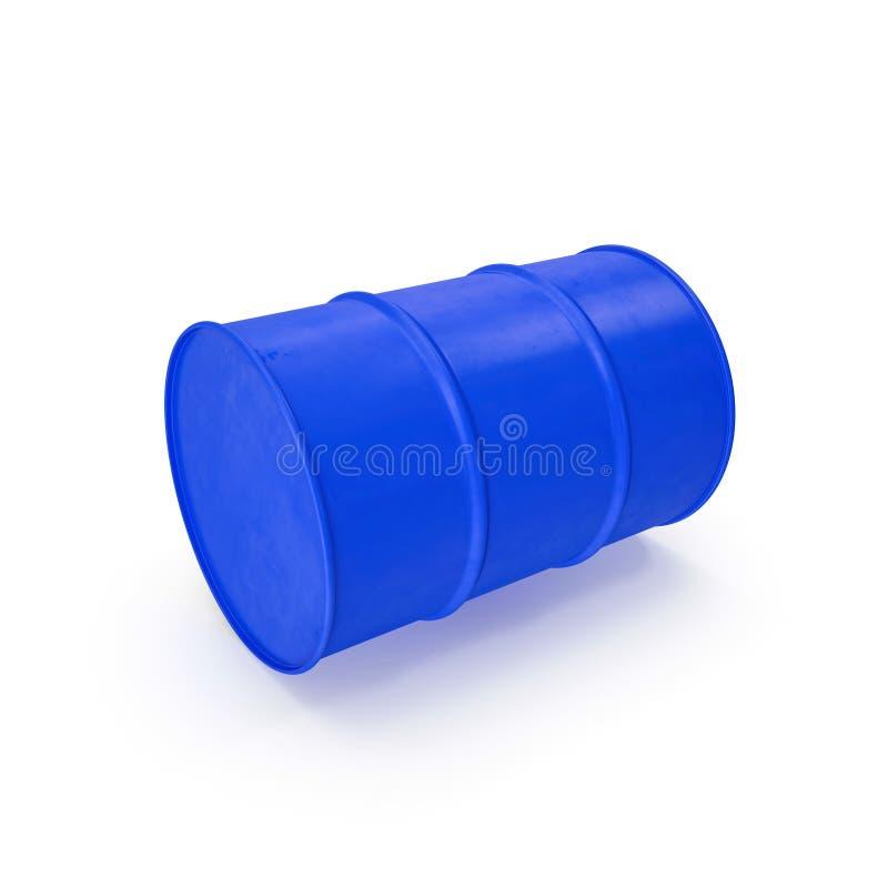 在白色隔绝的蓝色金属油桶 3d例证 向量例证