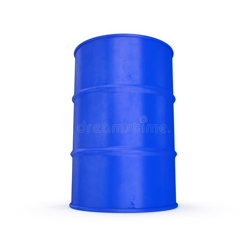在白色隔绝的蓝色金属油桶 3d例证 库存例证