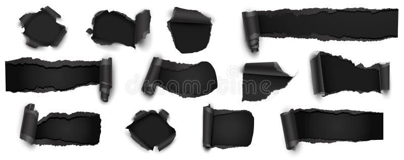 在白色隔绝的被撕毁的黑纸的汇集 也corel凹道例证向量 库存例证