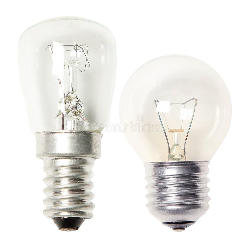 在白色隔绝的设置电灯泡 库存图片