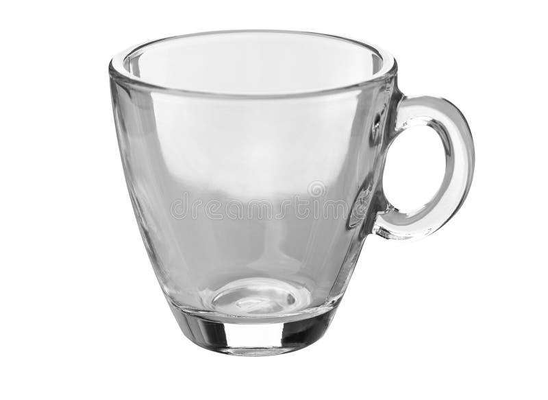 在白色隔绝的透明玻璃咖啡杯 免版税库存图片