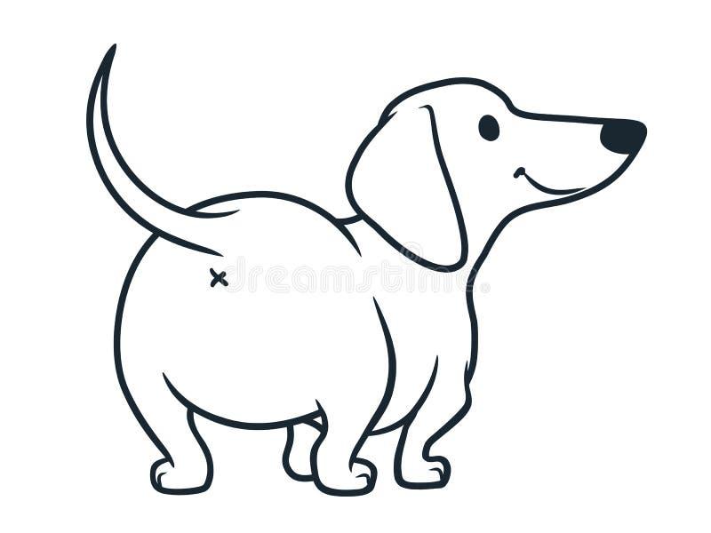 在白色隔绝的逗人喜爱的熏肉香肠香肠狗动画片例证 简单的黑白友好的达克斯猎犬线描  皇族释放例证