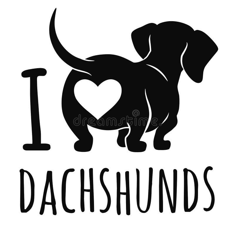 在白色隔绝的逗人喜爱的达克斯猎犬狗例证, 向量例证