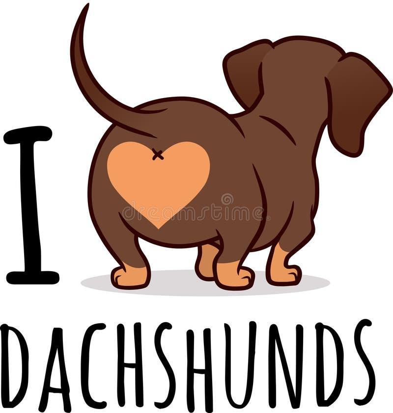 在白色隔绝的逗人喜爱的达克斯猎犬狗动画片例证, 库存例证