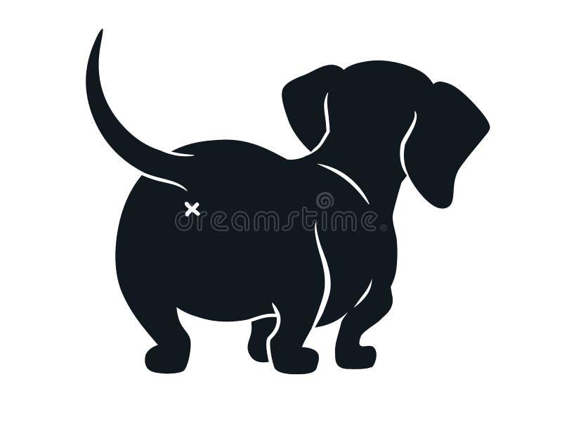 在白色隔绝的逗人喜爱的达克斯猎犬香肠狗动画片例证 熏肉香肠简单的黑白剪影图画  库存例证