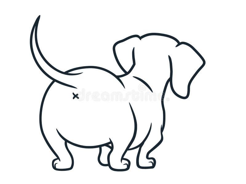 在白色隔绝的逗人喜爱的达克斯猎犬香肠狗动画片例证 简单的黑白熏肉香肠小狗线描, 皇族释放例证
