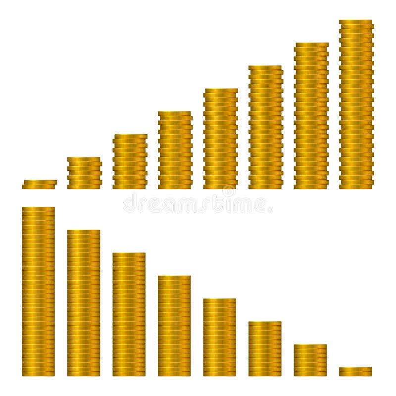在白色隔绝的金黄硬币堆图表  库存例证