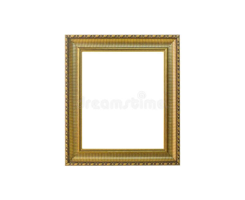 在白色隔绝的金黄葡萄酒照片框架 免版税库存照片