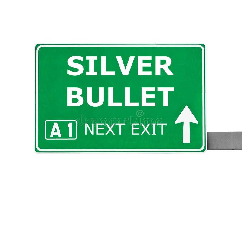 在白色隔绝的银色子弹路标 库存照片